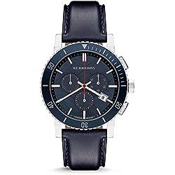 BURBERRY BU9383 - Reloj para hombres, correa de cuero color azul
