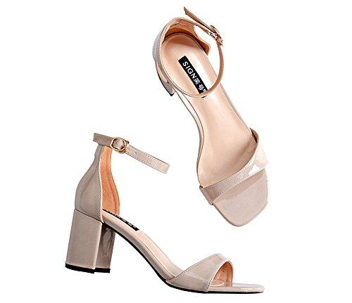 Wealsex damen sandalen blockabsatz high heels mit Schnalle Beige