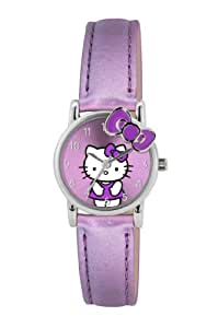 Hello Kitty Children's Quartz Watch with Purple Dial Analogue Display and Purple PU Strap HK009