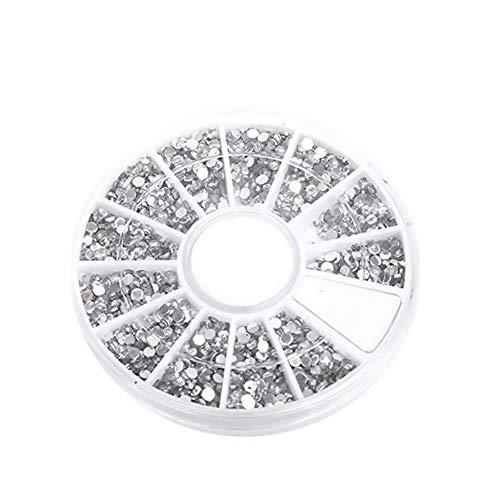 1200PCS2 Mm à ongles transparent Conseils cristal strass ronde ongles incrustée de strass