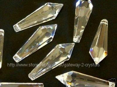 Kristalle für Kronleuchter / Weihnachtsbaum / Hochzeit / Feng Shui / Fensterschmuck, stiftförmig, (38mm x 15mm) 5 Stück,