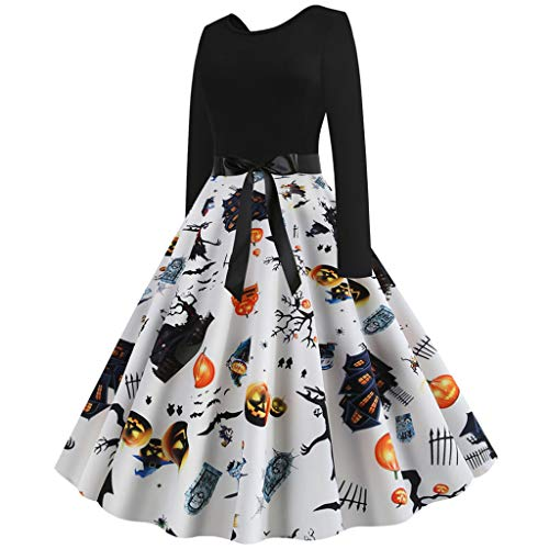 MasteriOne Frauen Halloween Party Langarm Druck für Elegant Kleid A-line Baumwolle Print Kleider Sexy Damenkleid mit bedruckter Rundhalsausschnitt Kürbis