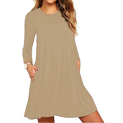 Fashion T-Shirt lâche Robes Casual Plain Swing à manches longues Tunique Dress Kaki