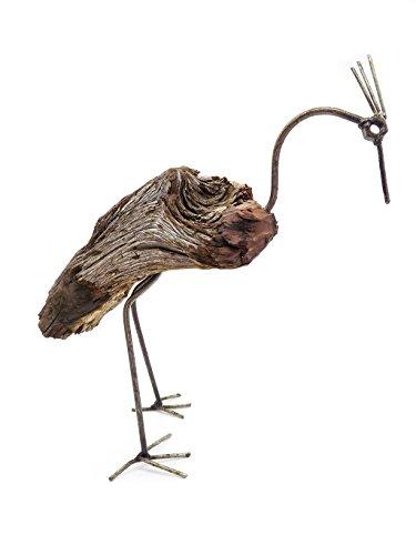 Gartenfigur Vogel Holz Gartendeko (L)