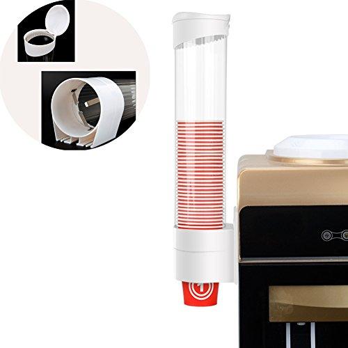 Dispensador de vasos de papel UxradG , dispensador de vasos de plástico, dispensador de vasos con un botón táctil antipolvo, para oficina, hospital y hogar. 9*41.5cm blanco