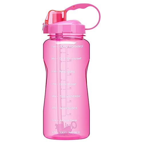QuiFit Wasserflasche, 2 l, BPA-frei, tragbar, für den täglichen Gebrauch, motivierende Trinkhalme, BPA-frei, langlebiges Tritan mit Zeitmarkierung, Rose, 64oz