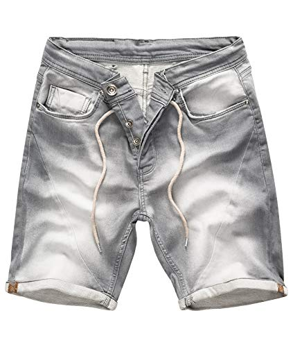 Rock Creek Herren Sweat Shorts Jeansshorts Denim Short Kurze Hose Herrenshorts Sommer Sweatshort Stretch Bermudas Grau RC-2200 Light Grey W36 - Grau Bermuda