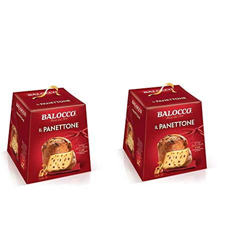 2 panettoni balocco tradizionale con scorze di arancia e uvetta 1 kg l'uno
