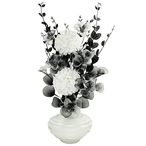 Silk flowers in vases amazon white vase with black and white artificial flowers ornaments for living room window sill home accessories 75cm mightylinksfo