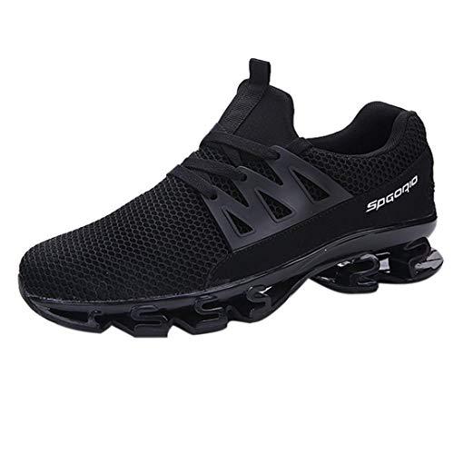 Mode Schuhe Herren, Daily Fitnessschuhe Laufschuhe Atmungsaktiv Turnschuhe Schnürer Sportschuhe Sneaker Mode Beathable Mesh Lace-up Freizeitschuhe (EU:43/CN:44, Schwarz B)