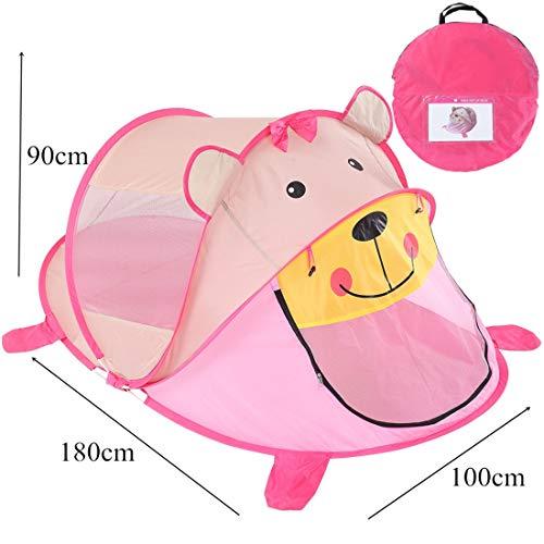 Nalkusxi Kinderspielzelt Indoor Baby Cartoon Bär Spiel Haus Schlafzimmer Sommer Moskitonetz Spielen (Color : Pink)
