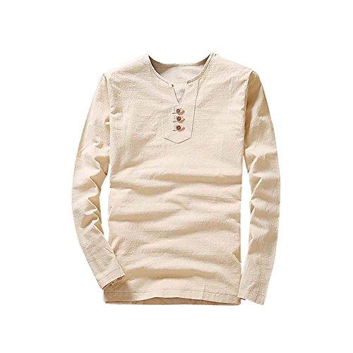 Beikoard camicia nera uomo t-shirt con scollo a v maniche lunghe in cotone e lino casual da uomo(beige,xxxl)