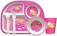 Andoer 5 Piece Kids Dinnerware Set Bamboo Fiber Safe & Eco-friendly Cartoon Plate Bowl Cup Fork Spoon Kit
