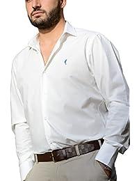 """DOMENICO AMMENDOLA, Camicia da Uomo """"Cortina"""" bianca, cotone 100%, Regular Fit, collo francese piccolo, Made in Italy"""