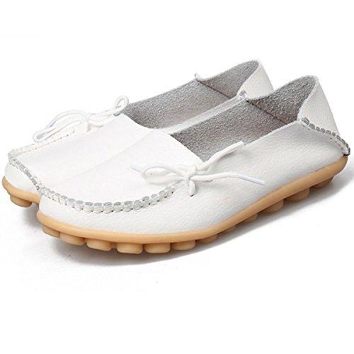 Hishoes Mocassin Femme Cuir Souple Loafers Casual Plat Bateau Chaussures Confort Sandales Blanc