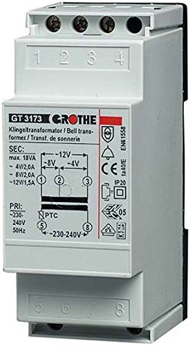 Grothe Klingel Transformator 8/12/24 V AC, 2/1,3/0,6 A, GT 3182, 1512014