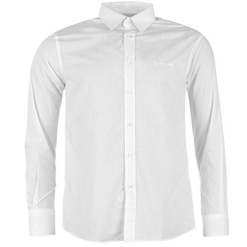 Pierre Cardin Herren Langarm Shirt Knopfverschluss Top Smart Freizeit Hemd Weiß