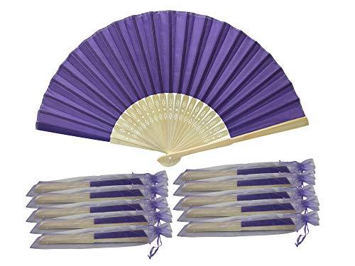 SHF15 Rangebow Violet Royal Lot de 10 gros éventail en soie Bambou côtes cadeau mariage dragées