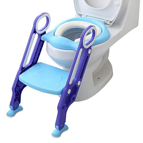 Aerobath Töpfchentrainer Kinder-Töpfchen Toilettensitz Trainer Sitz für Kinder Toiletten Training mit Leiter/Treppe,Rutschfest stabil klappbar und höhenverstellbar für 1-7 jährige Kids Minzgrün