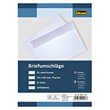 Idena 10216 Self-Adhesive Envelopes Without Windows DIN C6 75 g/m², Pack of 25, FSC Mix, White