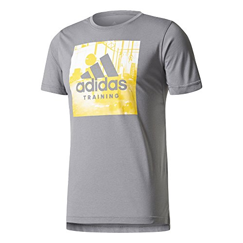 adidas Herren Freelift Logo T-Shirt, Grey Three, L (Logo-t-shirt Grey Adidas)