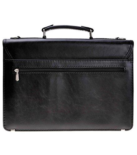 ZLYC Herren PU Leather Laptop-Tasche Businesstasche Arbeitstasche Aktentasche schwarz