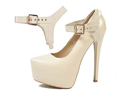 Sangles Amovibles de Chaussure - Pour maintenir en place des chaussures à talons hauts laches (Cuir Brillant Beige)