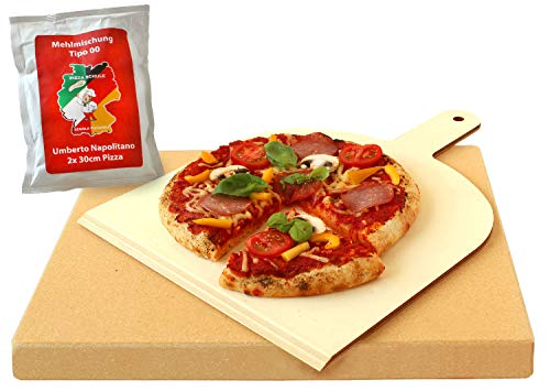 Vesuvo V38303 Pizzastein- / Brotbackbackstein Set für Backofen und Grill mit Pizzaschaufel und Pizzamehl, eckig, 38 x 33 x 3 cm