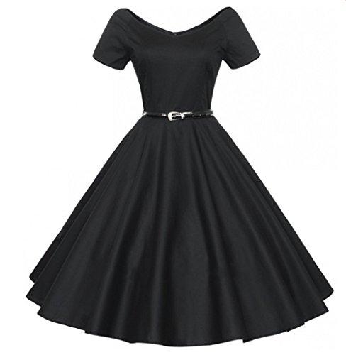 Wealsex 40s 50s 60s Retro kleid FaltenrockVintage V-Ausschnitt Schwingen Partykleider Rockabilly Pinup Ballkleid Schwarz