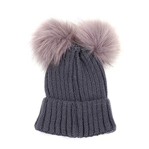 Imagen de oyfel sombrero de punto bufanda de invierno de nieve gorros caliente caza calido orejas christmas navidad 14 * 17cm pompon piel con bola para ninos ninas bebe