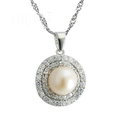 Gnzoe Schmuck Damen Halskette 925 Silber Kreis Perle Form Anhänger Elegant Silberkette Damenkette Weiß(Groß) Größe 1.5x1.7 CM mit Zirkonia