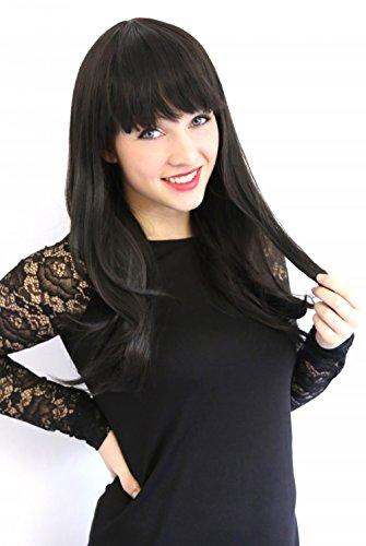 Prettyland C1459 - 50cm gestuft Innenschwung glatte Mittellang Perücke - (Schwarze Kostüm Haarfarbe)