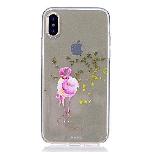 inShang iPhone X 5.8inch custodia cover del cellulare, Anti Slip, ultra sottile e leggero, custodia morbido realizzata in materiale del TPU, frosted shell , conveniente cell phone case per iPhone X 5. Maple Flamingo