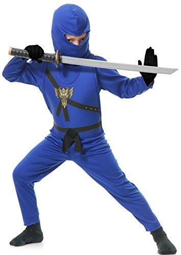 r blau Kinder Kostüm Ninjago (Kinder Large 10/12) (Blau Ninja Kostüm Für Kinder)