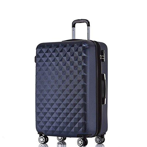 BEIBYE Zwillingsrollen 2066 Hartschale Trolley Koffer Reisekoffer Gepäck M-L-XL-Set (Dunkelblau, XL)
