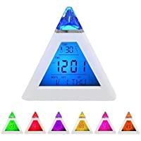 Digital 7*Colour LED Alarm Clock with Pyramid Design & Thermometer for Kids Children | Date Time Temperature Display... preisvergleich bei billige-tabletten.eu