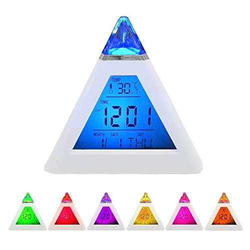 Preisvergleich Produktbild Digital 7*Colour LED Alarm Clock with Pyramid Design & Thermometer for Kids Children | Date Time Temperature Display + Alarm Settings | Digital Accessories by iChoose by iChoose Limited