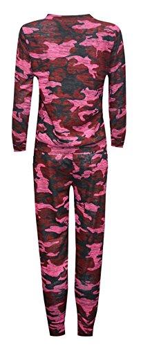 Fast Fashion - Set Print Accros Joggeurs Survêtement Sweatshirt - Femmes Vin Camouflage