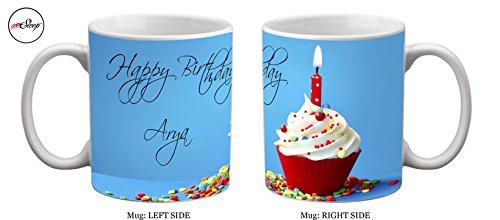 meSleep Personalized Happy Birthday Arya Ceramic Mug  available at amazon for Rs.249