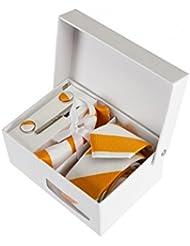 Coffret Cadeau Casablanca - Cravate slim à larges rayures blanches et oranges, boutons de manchette, pince à cravate, pochette de costume