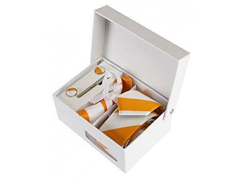 Coffret Casablanca - Cravate slim à larges rayures blanches et oranges, boutons de manchette, pince à cravate, pochette de costume