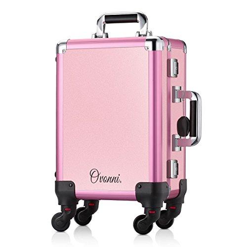 Ovonni Kosmetikkoffer Makeup Train Case Mit LED Spiegel 4 Abnehmbare Räder Abschließbar Professional Artist Salon Studio Multifunktionen Rosa