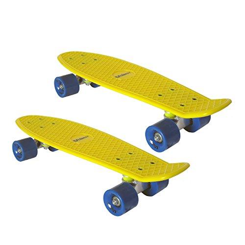 Unibest Skateboard Mini Cruiser Board Rollbrett Retro-Board 55x14cm 2er Pack - 2xgelb