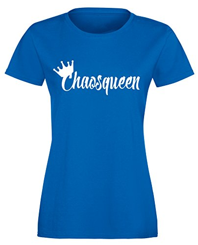 Chaosqueen - Damen Rundhals T-Shirt Royal/Weiss