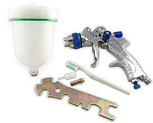 Muzata HVLP Gravity Feed Air Spray Gun 3 Nozzles 1.4mm 1.7mm 2.0mm, 600cc Cup from Muzata