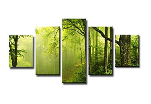 Quadro su tela foresta 160 x 80 cm 5 tele modello nr XXL 5581