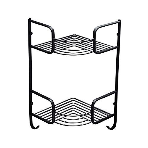 LifeX Kreatives doppeltes Badezimmer-Eckregal an der Wand befestigter Speicherstand-Stativ-Schwarz-Dusche Caddies europäisches organisieren Korb luxuriösen Messinghalter mit Haken
