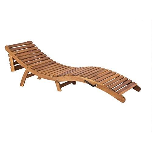 OUTLIV. Sonnenliege Holz klappbar Deluxe Gartenliege ergonomisch Akazie Braun inkl. Auflage Beige Klappliege kompakt Holzliege geschwungen