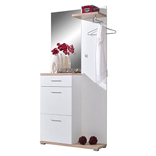 IOVIVO Kompakt-Garderobe Oregon, weiß Absetzung: Sonoma-Eiche-Nb.