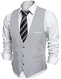 Coofandy Gilet de Costume Homme Veste sans Manche Business Mariage Taille S- XXL c5f6a6f9af3